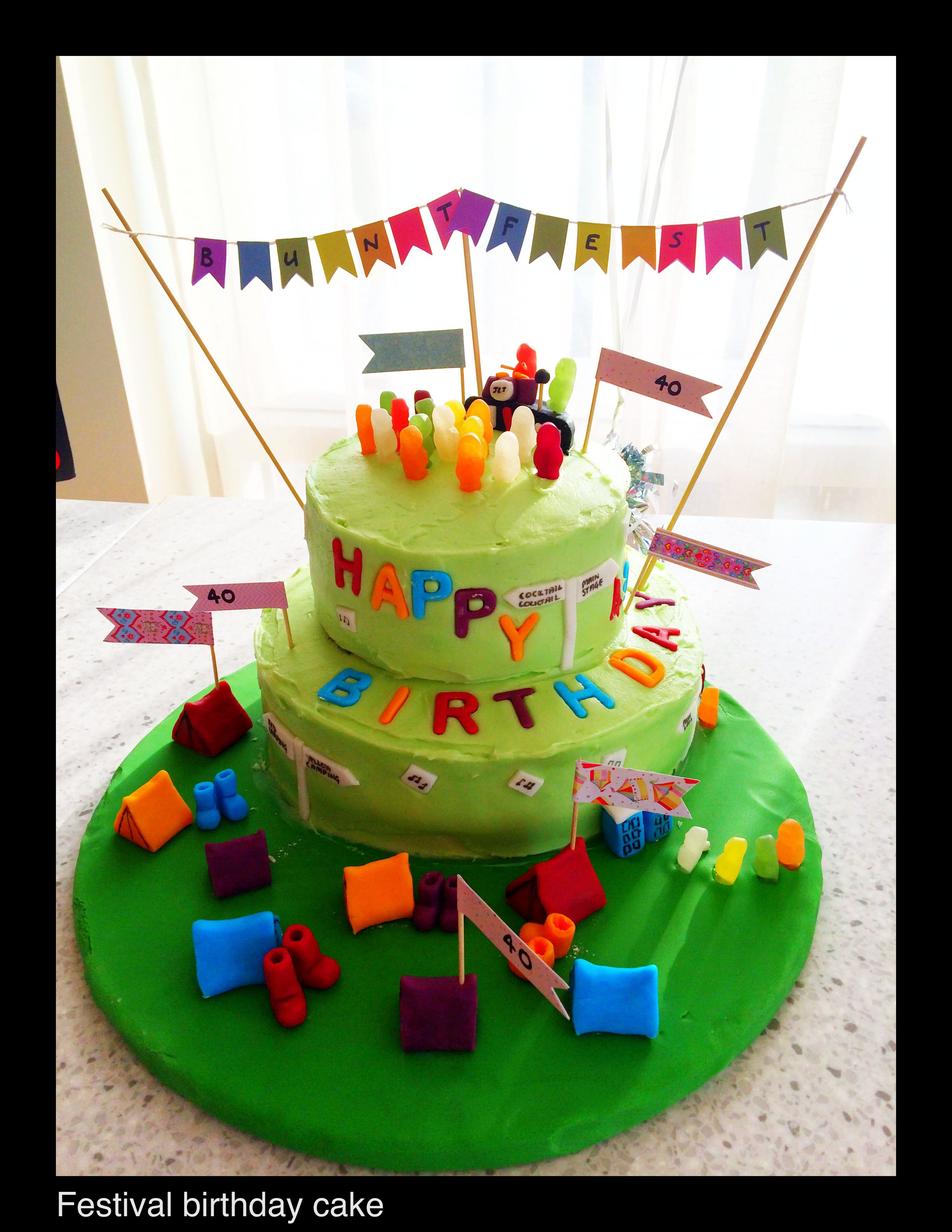 Festival Birthday Cake For 40Th Birthday