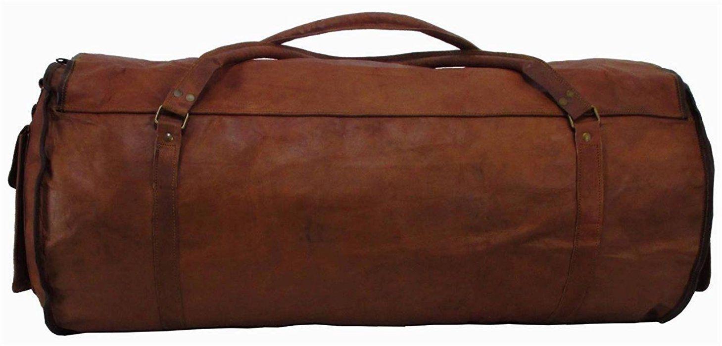 Leather Duffel Gym Genuine Vintage Brown Leather Goat hide 24