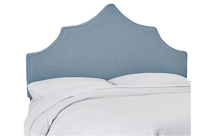 One Kings Lane Camille Headboard - French Blue Linen French blue