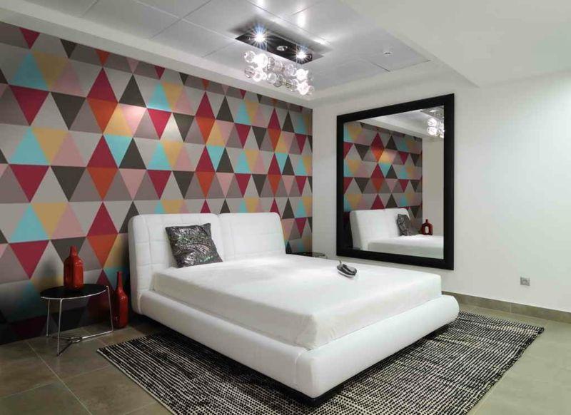 Wunderbar Elegant Wanddeko Für Schlafzimmer Bunt Geometrisch Muster Tapete Dreiecke
