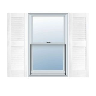 Builders Choice Vinyl Open Louver Window Shutters Pair 12 X 43 White Products In 2019 Louvered Shutters Exterior Vinyl Shutters House Shutters