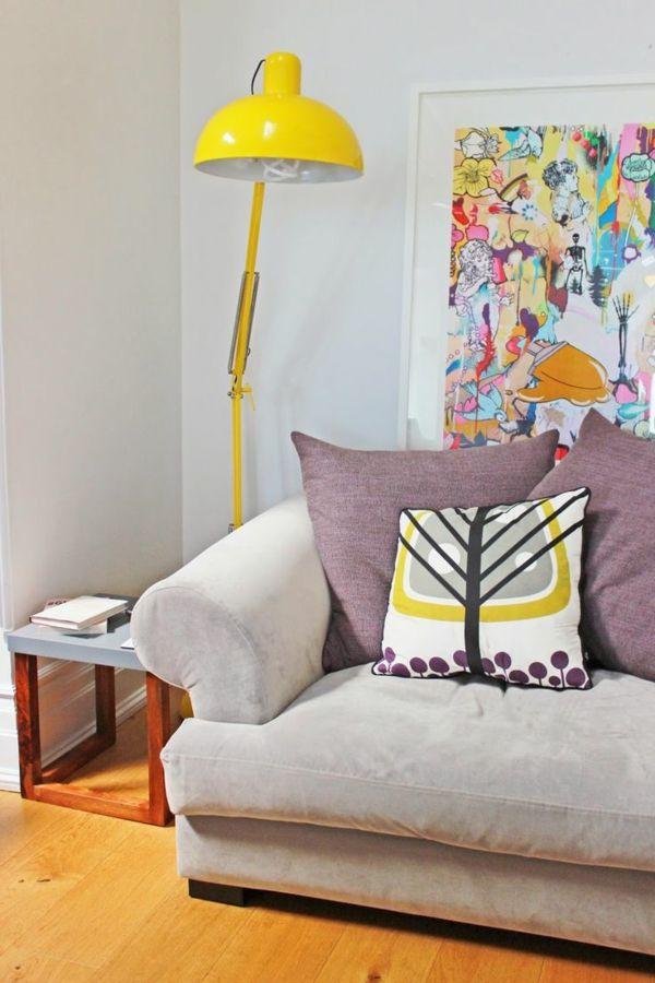 moderne wohnzimmerlampe bodenlampe gelb Deko Pinterest - wohnzimmer landhausstil gelb