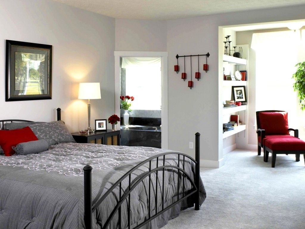 Bedroom teens bedroom cool room with grey bed and red couch cool
