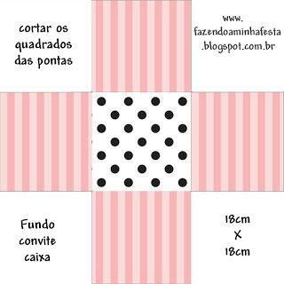 Listras Rosa e Poá – Kit Completo com molduras para convites, rótulos para guloseimas, lembrancinhas e imagens! |Fazendo a Nossa Festa