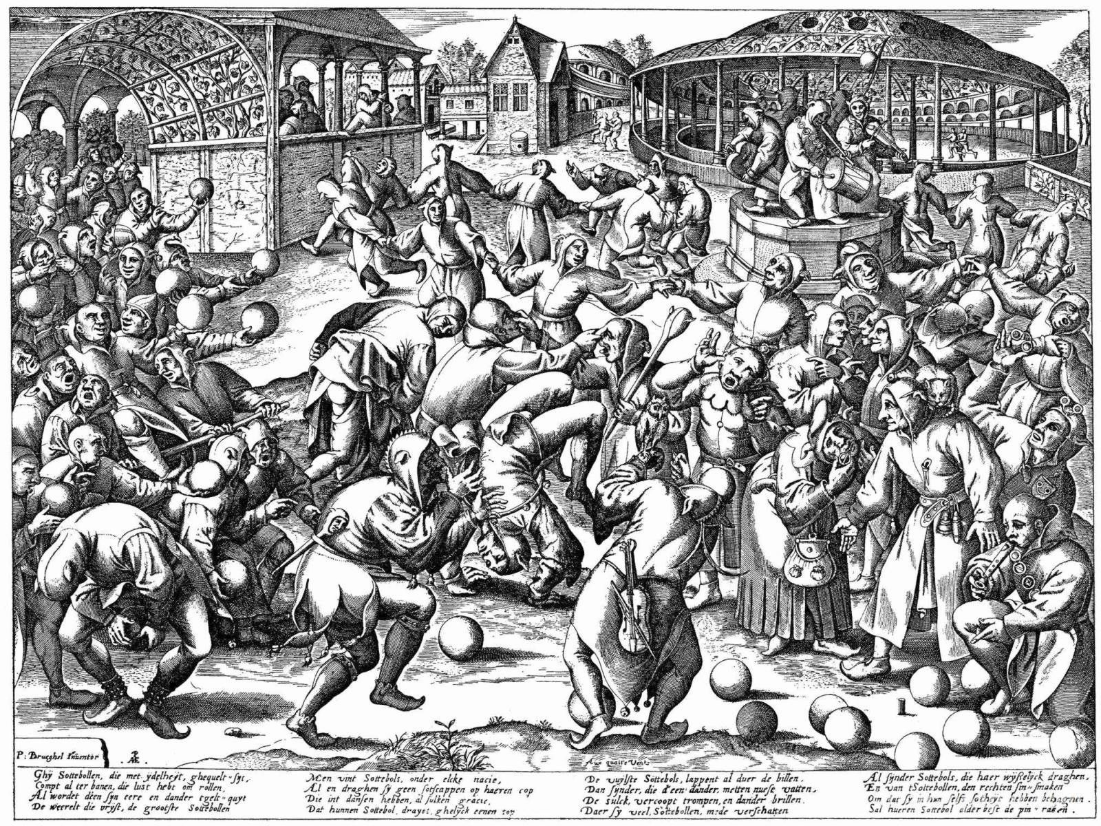 """Feast/Festival of Fools"" print engraved by Pieter van der Heyden after Bruegel, after 1570"