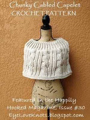 Chunky Cabled Capelet - Free Crochet Pattern | Hals, Stricken und ...