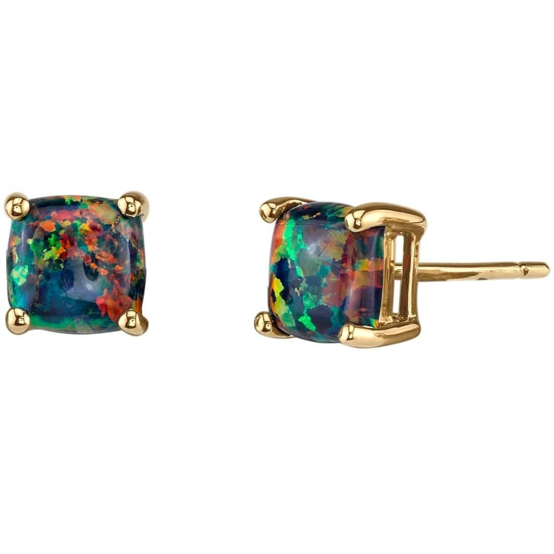 14K Oravo Yellow Gold Cushion Cut Created Opal Stud Earrings, Women's