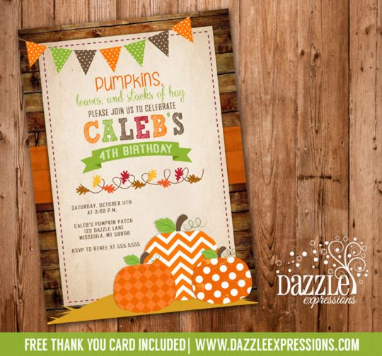 Printable Pumpkin Birthday Invitation