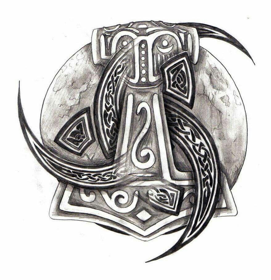 Mjollnir and odins horns tattoo pinterest horn tattoo and mjollnir and odins horns buycottarizona