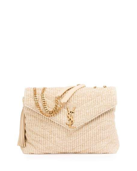 af0f0a9e34 Saint Laurent Medium Soft Raffia Chain Shoulder Bag