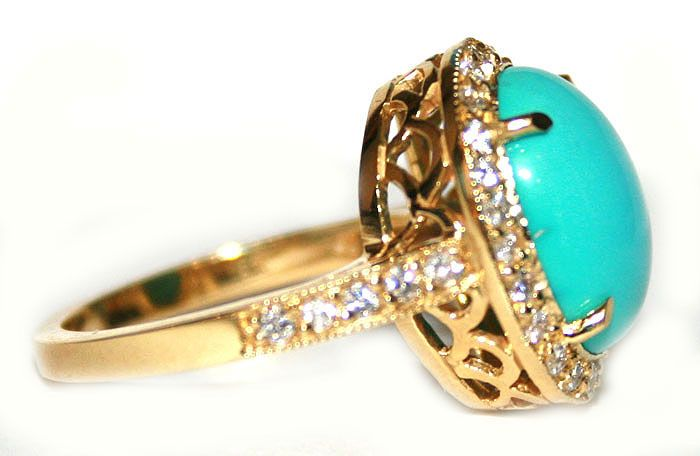 Turquoise and Diamond Gold Ring 7658 My Ring Obsession