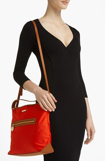 ae548e2742b2f7 $128 MICHAEL Michael Kors 'Kempton - Large' Nylon Satchel Shoulder, maybe  crossbody? Color: Mandarin 13 1/2