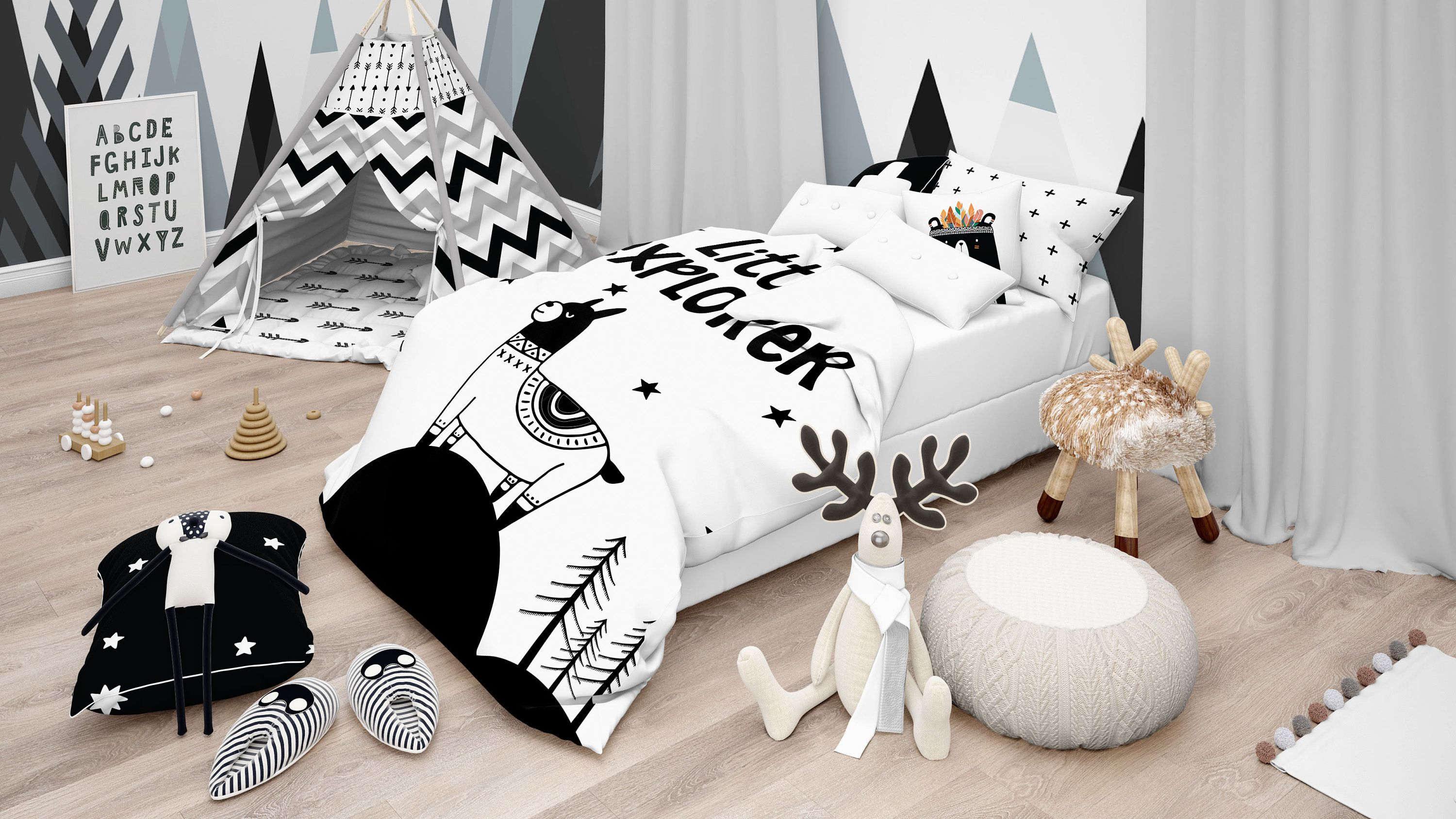 Modern Kid Bedding Scandinavian Bedding Monochrome Bedding Toddler Bedding Baby