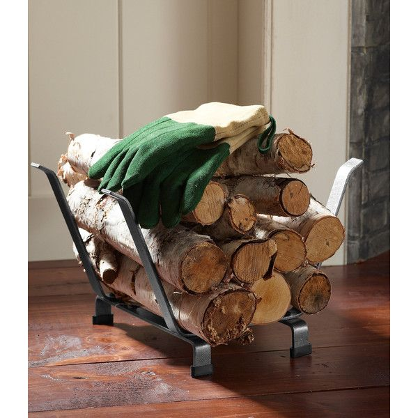 L Bean Hearthside Log Rack Small 119 Liked On Polyvore Featuring Home Decor Fireplace Accessories Rustic Grey