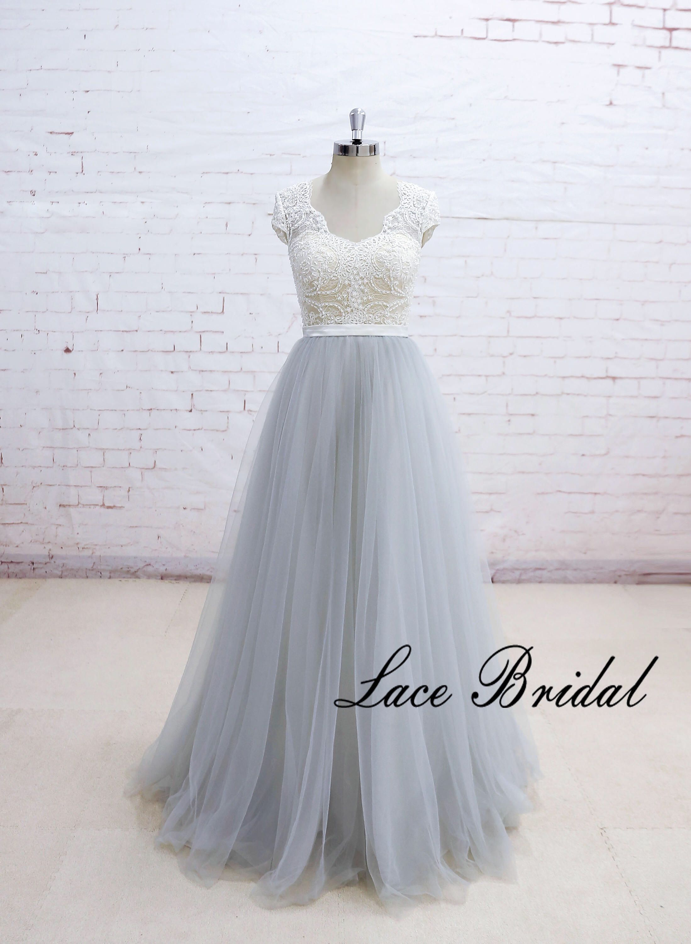 Champagne underlay boho wedding dress with cap sleeves and sheer