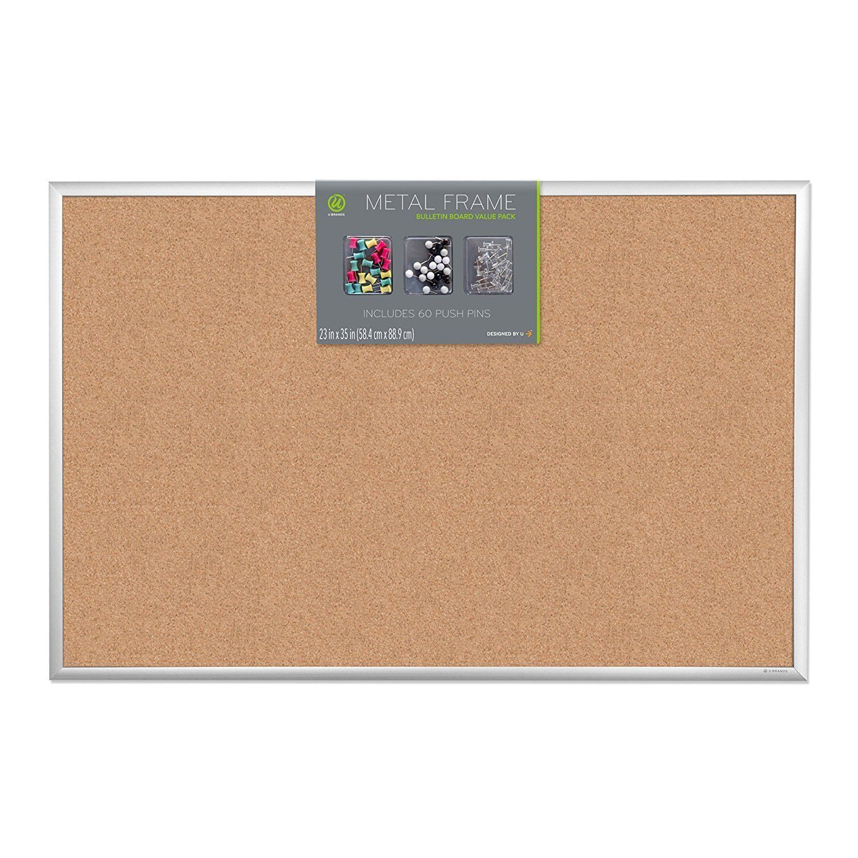 20 X 16-Inch Black and Grey Frame U Brands Mod Cork Bulletin Board