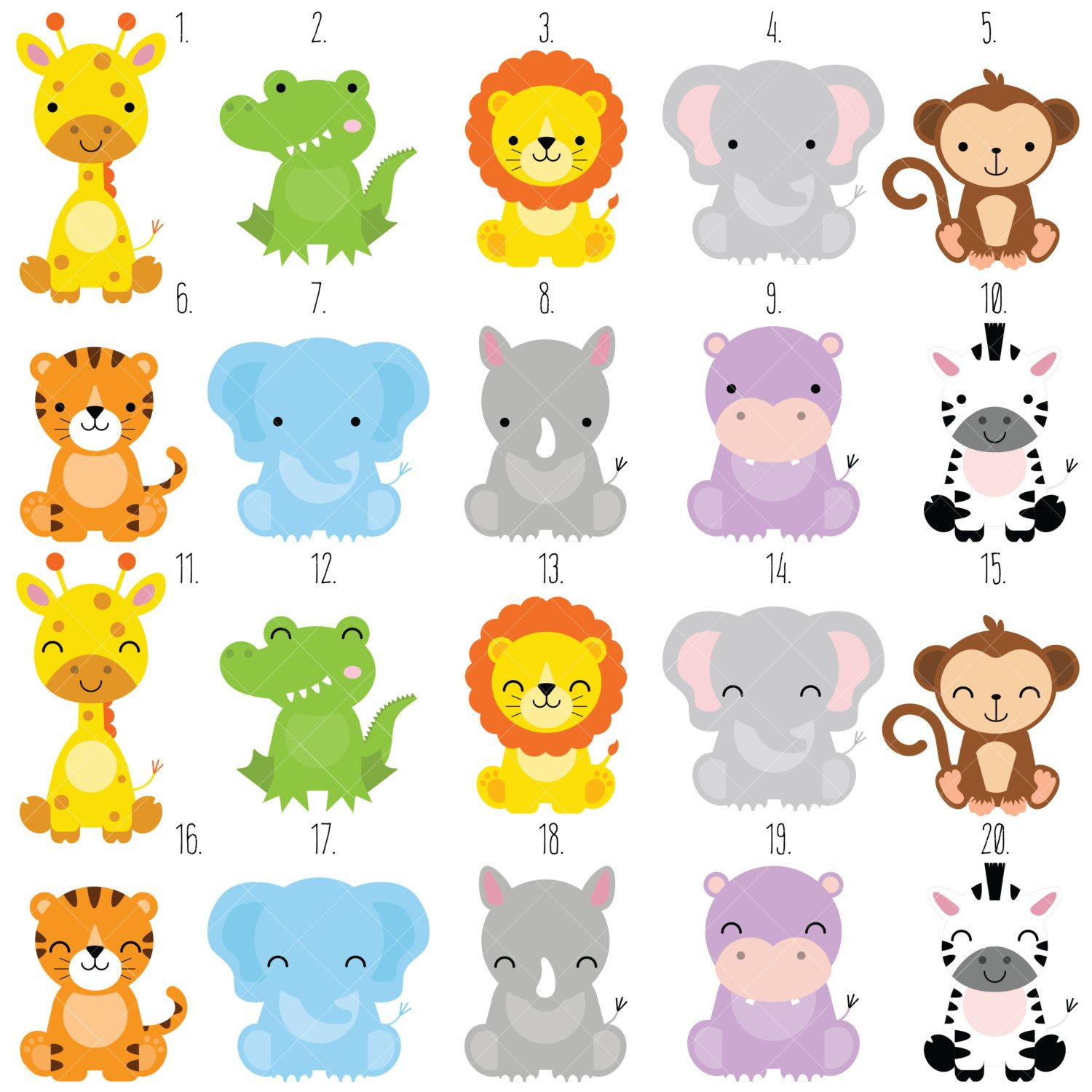 Safari baby animals clipart jungle animals clipart zoo animals clipart basteln - Schulprojekte ideen ...