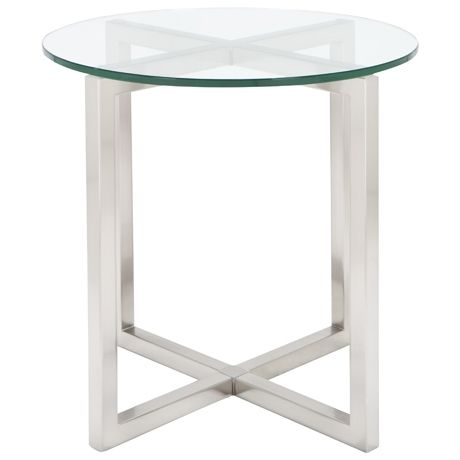 Attractive CBD Side Table 55cm Diameter Brushed Nickel