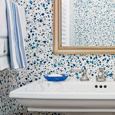 True Blue Beach Retreat Paint Splatter Wallpaper Jackson Pollock Bathroom
