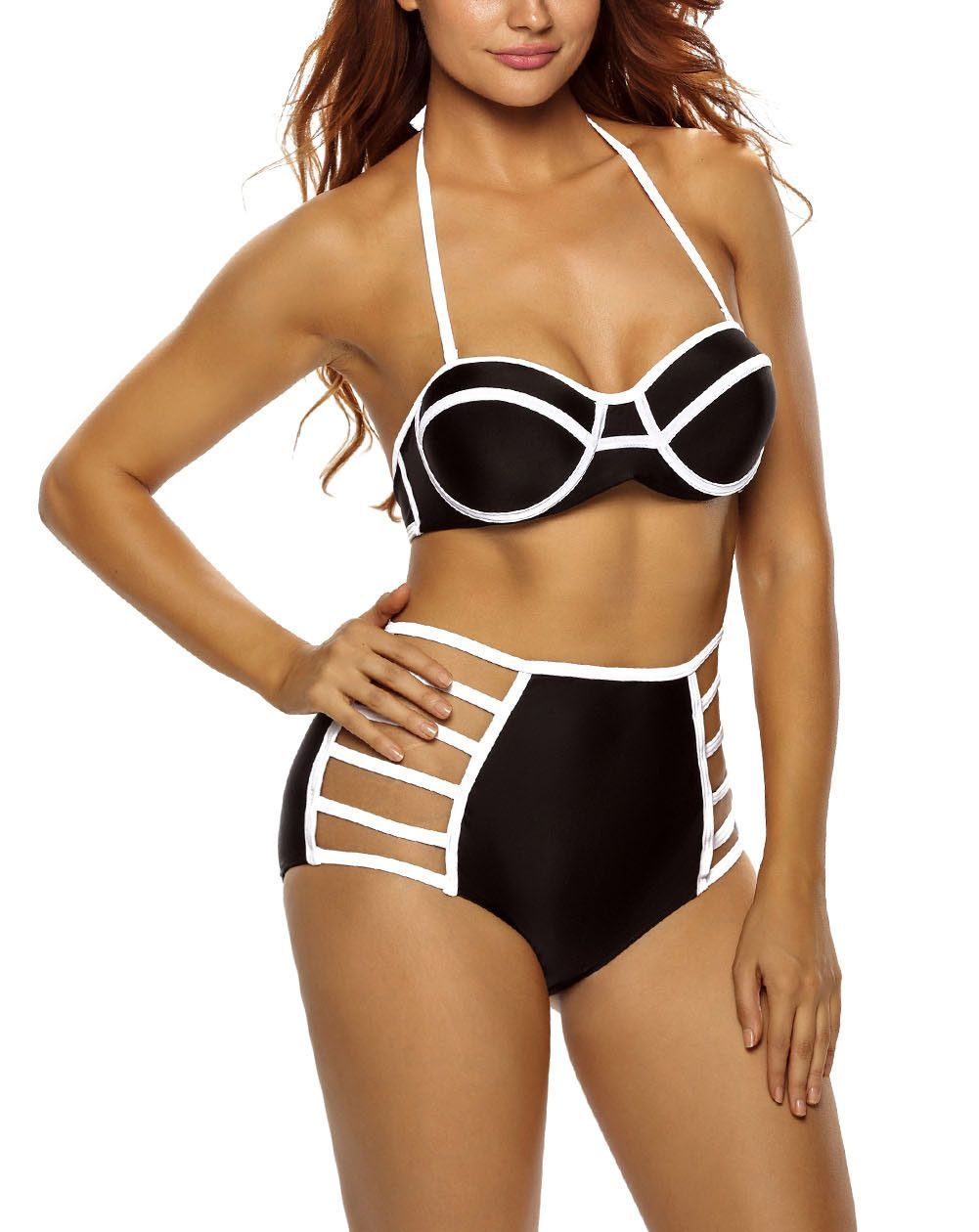 Black Outlined Diana Two Piece