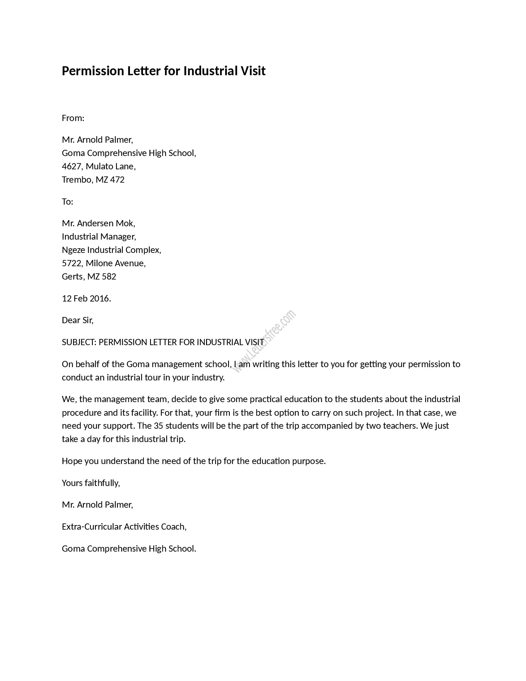 Permission Letter for Industrial Visit  Sample Permission