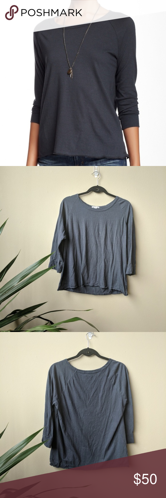 James Perse Raglan Striped Tee In Titan Gray Sz 3 Standard James