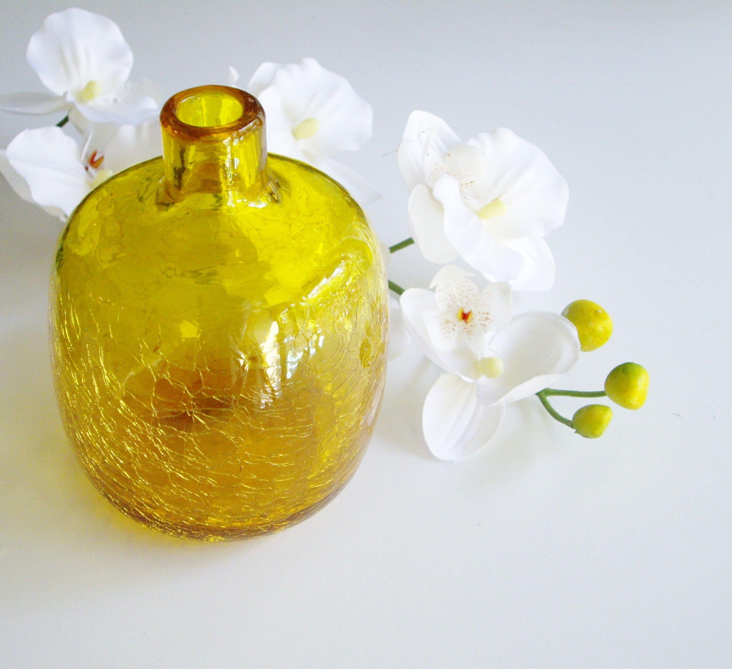 Vintage vase blenko yellow crackle glass joel myers 6424 vintage vase blenko yellow crackle glass joel myers 6424 lemon reviewsmspy