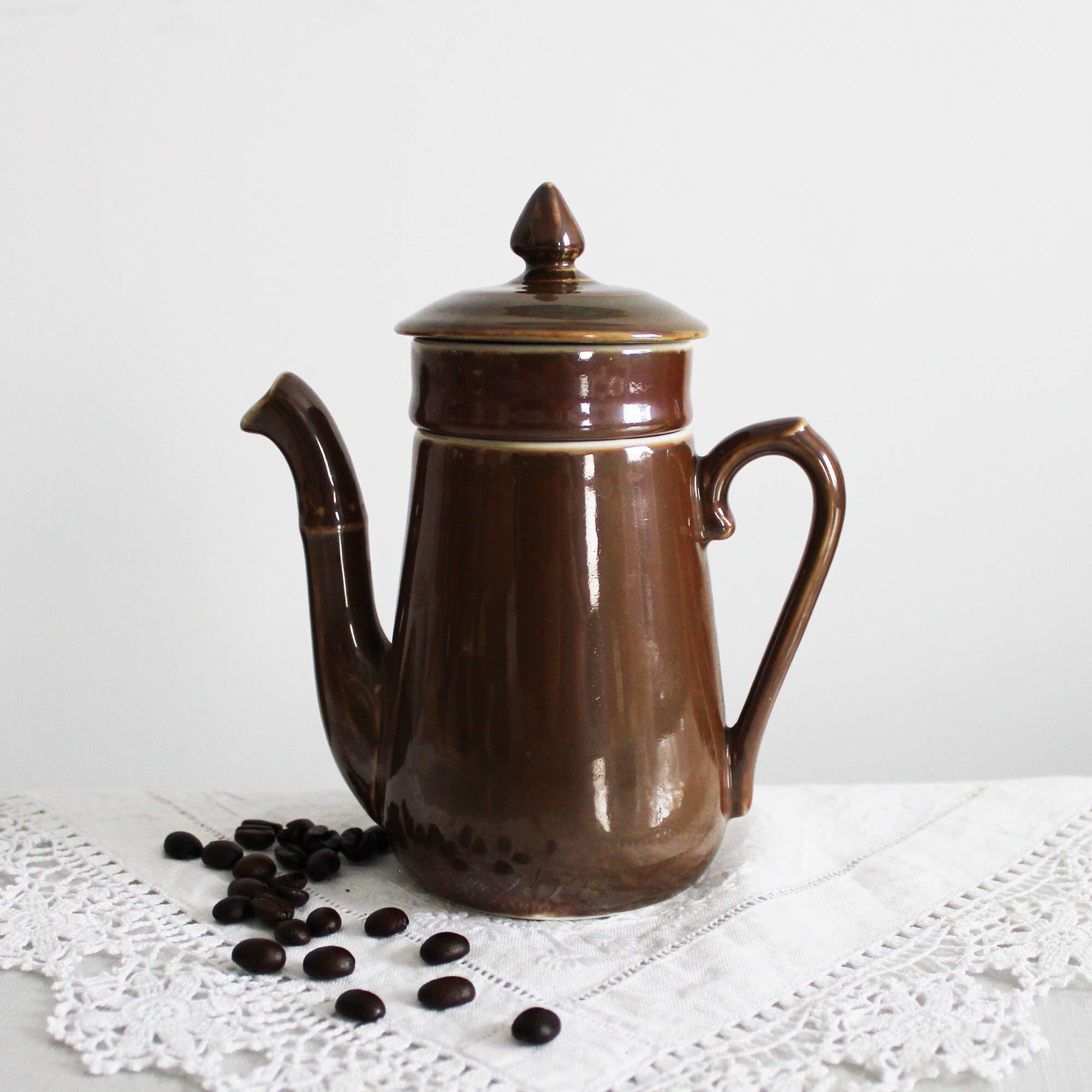 Vintage French chocolate pot ceramic brown teapot retro coffee pot jug mid-century Small ceramic tea pot tableware tea party cottage decor & Vintage French chocolate pot ceramic brown teapot retro coffee pot ...