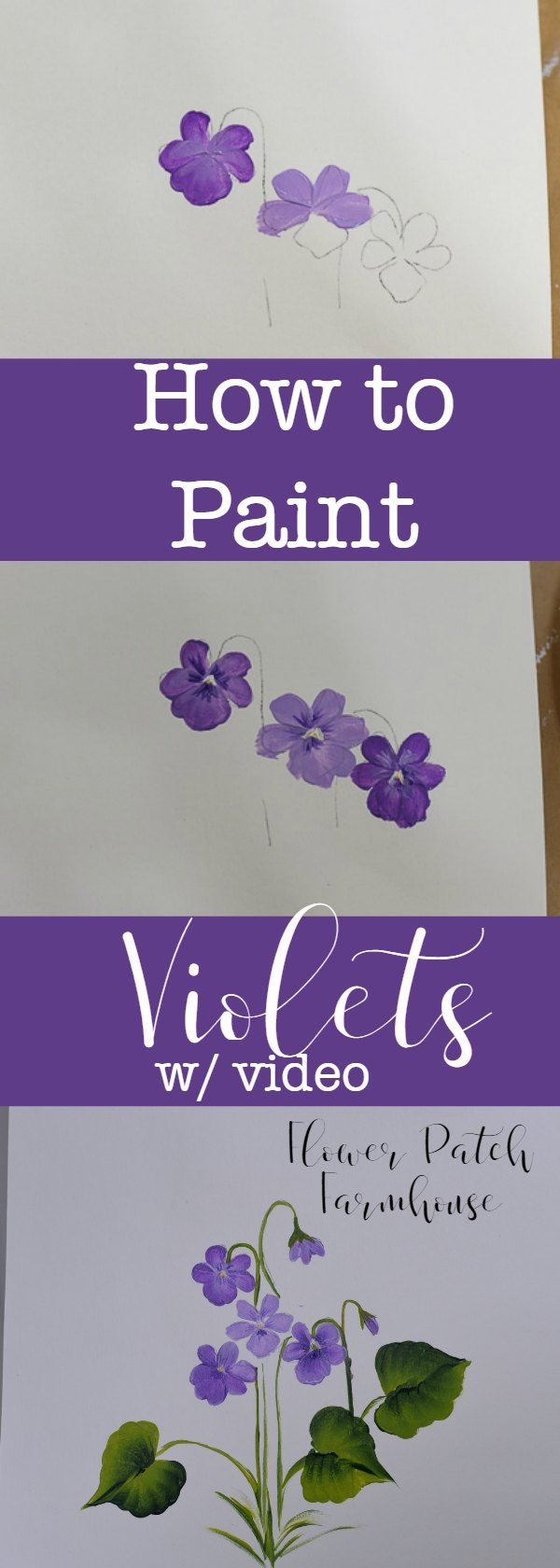 Learn how to Paint Violets 3 Ways - Pamela Groppe Art