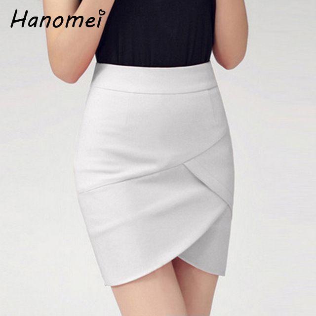 Nueva Moda Elástico Patchwork Lápiz de Cintura Alta Falda Faldas Cortas  Mujer Solid Saias Femininas Verano Corto Saia C654 e3791be47800
