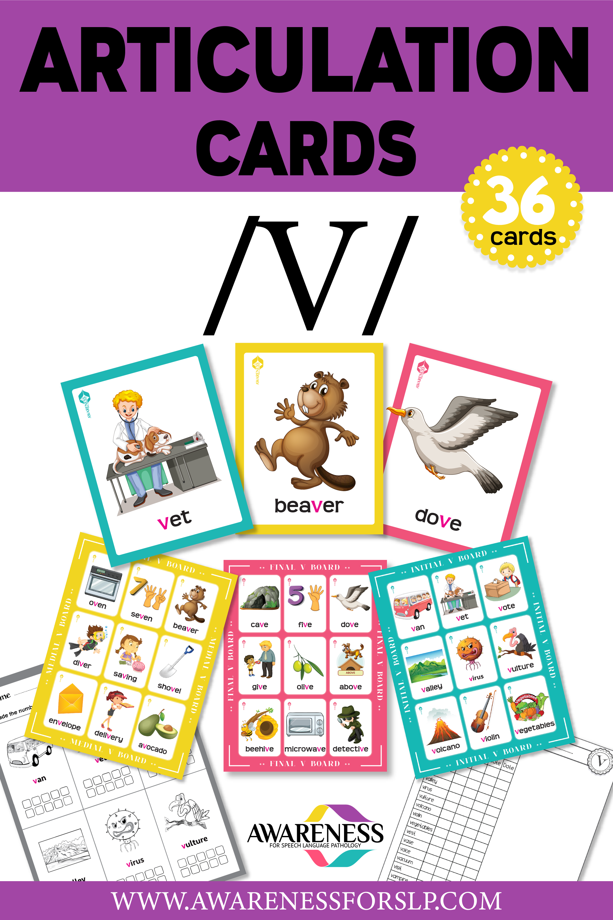 V Sound Articulation Cards Includes 10 Games That You Can