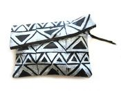 Triangles: large hand-printed leather pouch.