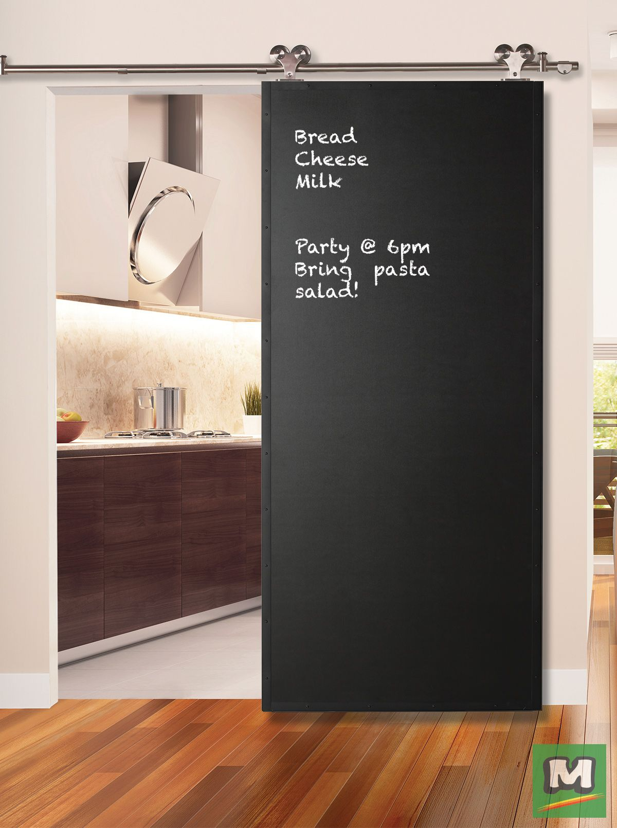 Add Fun And Function To Any Room This Beautiful Prefinished Black Chalkboard Door With A Metal Frame Interior Sliding Barn Doors Barn Door Barn Doors For Sale