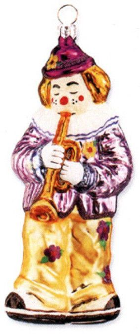 Clown Playing Trumpet Blown Glass Christmas Ornament