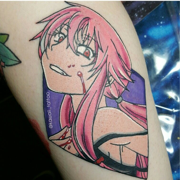 Yuno Gasai tattoo from The Future Diary (Mirai Nikki) done
