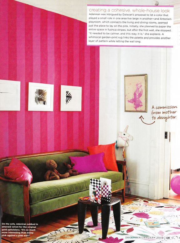 Statement wall. Love the pink stripes with the olive couch and ...