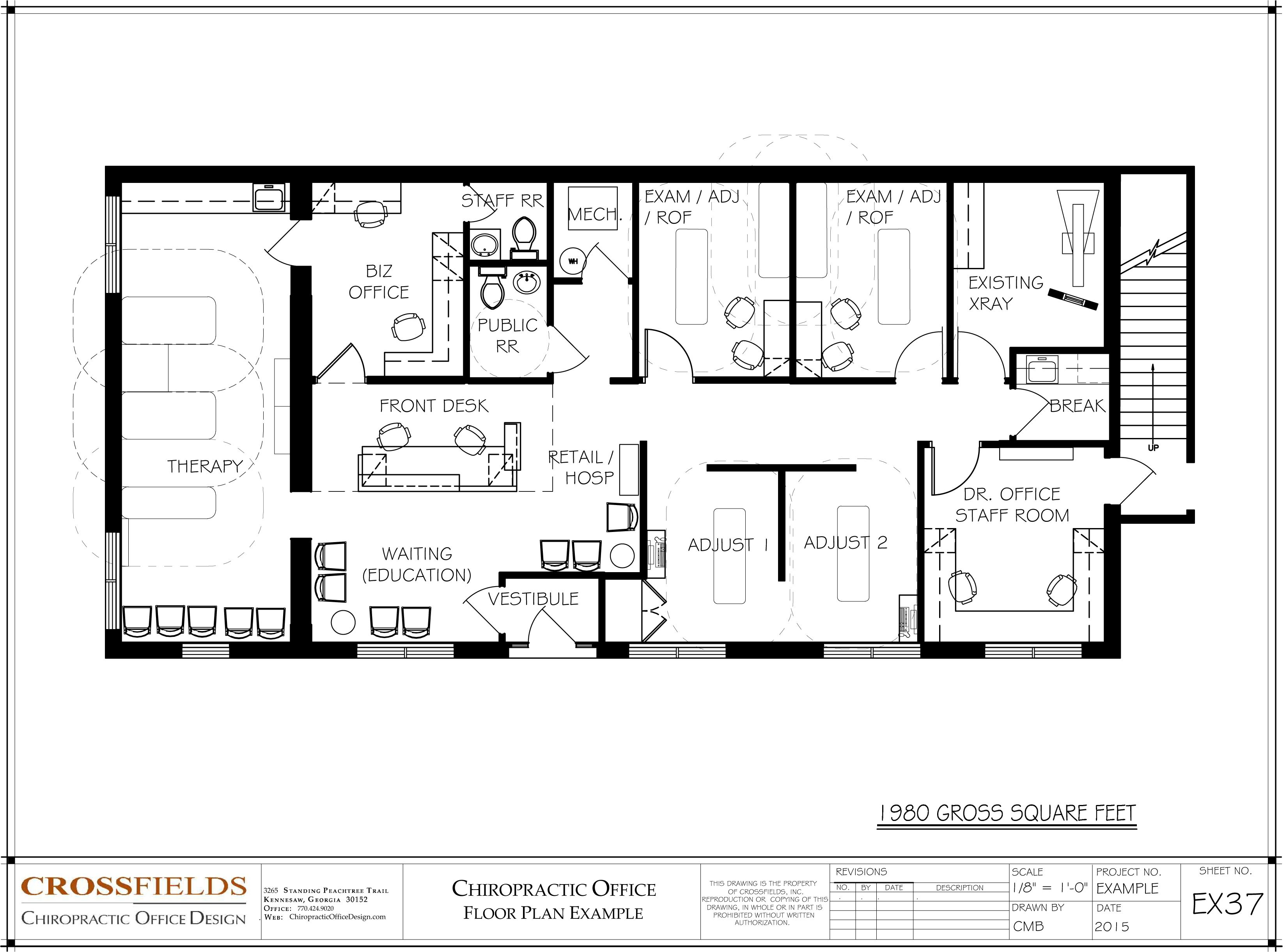 Chiropractic office floor plans square feet for Woodworks design office 8