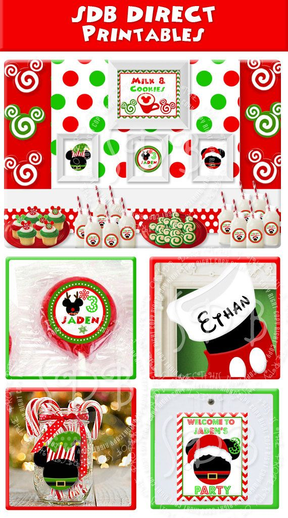 Disney Christmas Party Ideas Part - 17: Mickey Mouse Christmas Party Pack Santa Birthday Snow By SDBDIRECT, $19.99