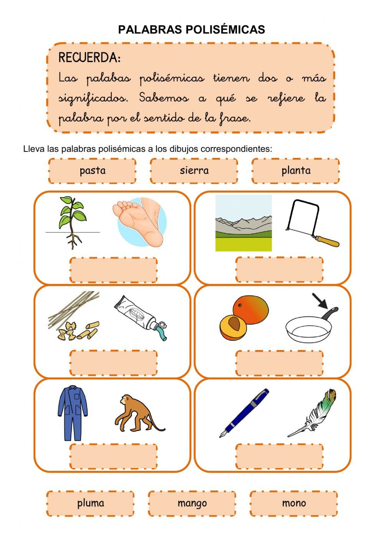 Palabras Polisemicas 3 Ficha Interactiva Palabras Polisemicas Palabras Fichas