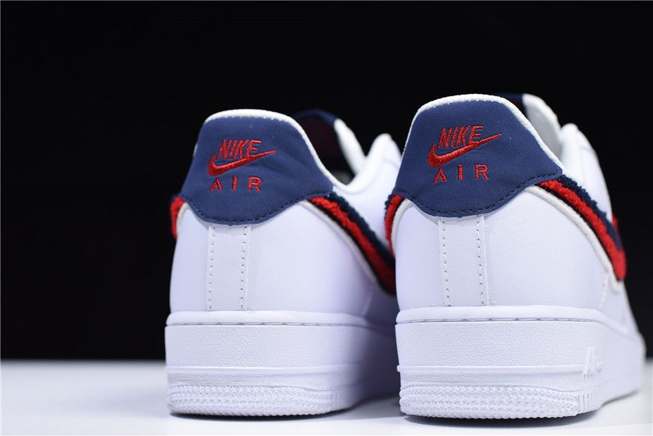 """Buy Nike Air Force 1 Low '07 LV8 """"Chenille Swoosh"""" WhiteUniversity Red Blue Void 823511 106"""