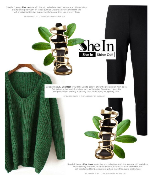 """""""Favourite Set Of The Week (Sponsored Contests / SheIn)"""" by antemore-765 ❤ liked on Polyvore featuring Jil Sander Navy, Giuseppe Zanotti, GiuseppeZanotti, sweaterweather, greenandgold, fallentertaining and shein"""