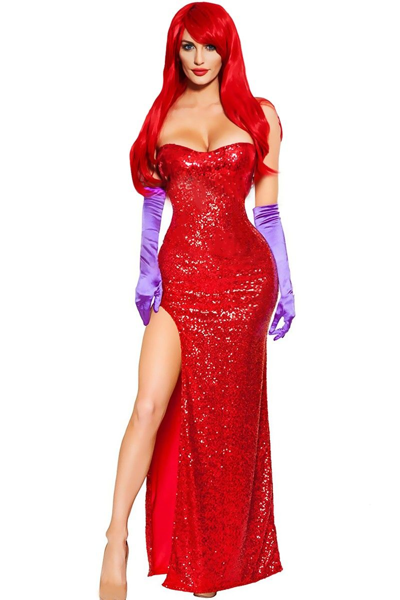 Buy Red Sequin Maxi High Slit Sexy Cabaret Singer Two Piece Costume from  costume online store which also sales sexy costume 64d54ac3da39