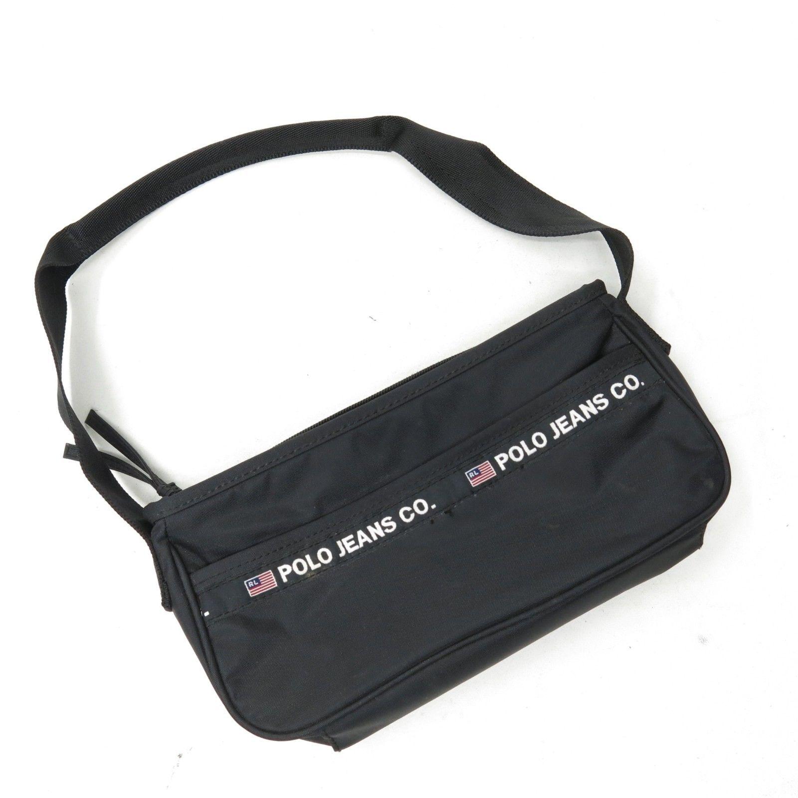 c83bd97a93db Vtg 90s Ralph Lauren Polo Sport Jeans Black Nylon Small Spellout Purse Bag
