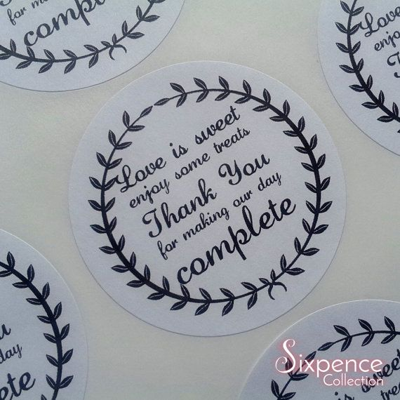 48 X PERSONALISED ENGAGEMENT STICKERS LABELS FAVOURS Thank you CIRCLE ROUND NEW