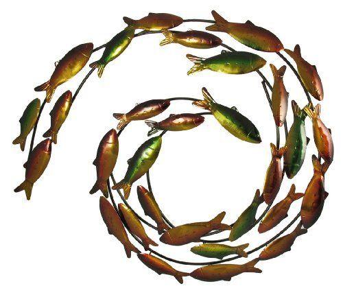 Swirling School Of Swimming Fish Metal Wall Art By Things2die4 49 99 23 In Tall 26 1 2 In Wide 1 1 2 In Fish Wall Art Metal Fish Wall Art Metal Wall Art