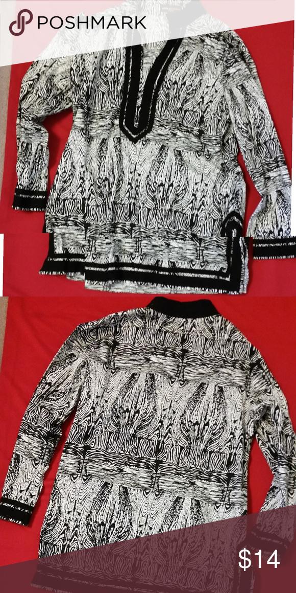 3927103d7ac31 Dana Buchman Long Shirt XL Black and White Long Sleeve Cotton Top Dana  Buchman Tops Blouses