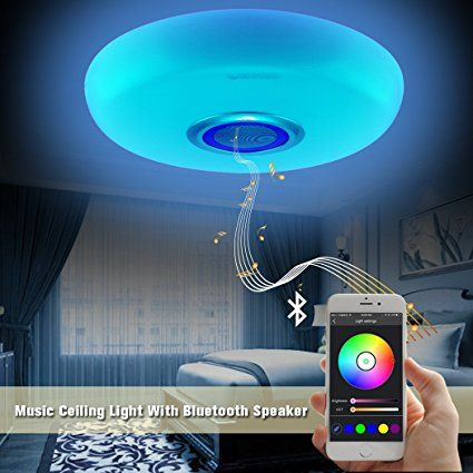Ceiling Light Led Music Ceiling Light Fixtures With Bluetooth Speaker 17 7inch 60w Rgb Color Changing And Di Ceiling Lights Modern Light Fixtures Party Lights