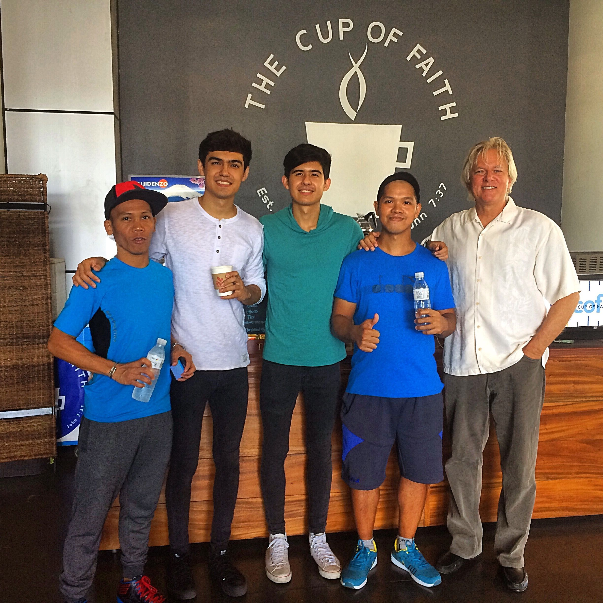 Philippine Tennis Coaches from the Perkins Twins Tennis Academy in the Philippines visit The Cup of Faith coffee.  info@thecupoffaith.com