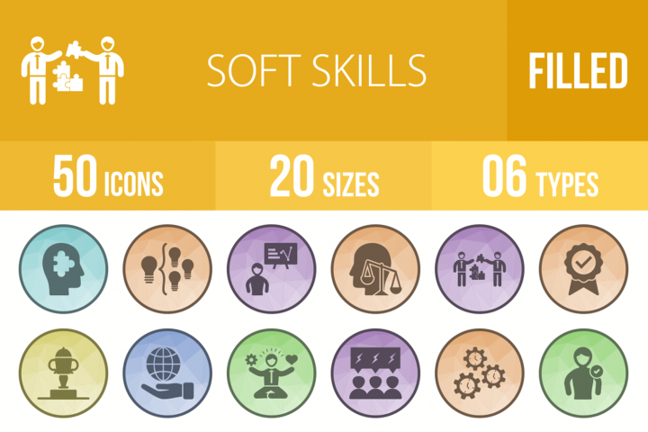 50 Soft Skills Filled Low Poly Icons 282735 Icons Design Bundles