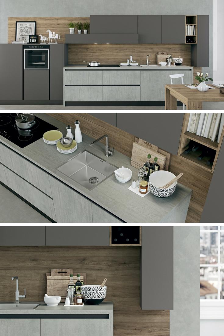 Kalì - cucina moderna con piano laminato cementho   Cucine Moderne ...